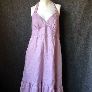 J. Crew linen periwinkle purple halter dress